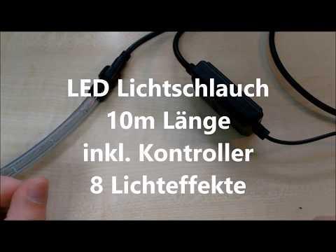 LED Lichtschlauch (Kaltweiss)10m Länge,  kürzbar,  inkl. Kontroller mit 8 Modi