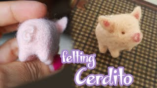 🐷 MINI PUERQUITO CON NEEDLE FELTING 🐷