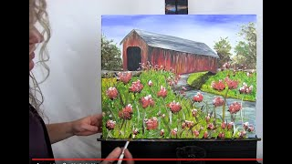 How To Paint This Rustic Covered Bridge With Acrylics | Paint And Sip At Home | Step By Step