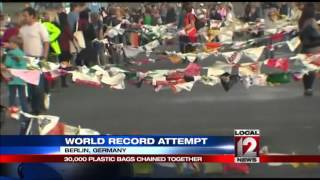 World record attempt of plastic bags