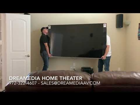 """Samsung 82"""" Q6 QN82Q6F unboxing / wall mounting in Frisco Texas by Dreamedia"""
