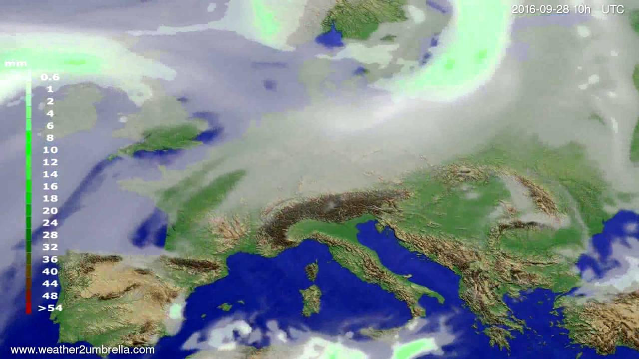 Precipitation forecast Europe 2016-09-26