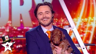 French Magician Does Card Magic With His Dog Assistant on Got Talent France | Magicians Got Talent