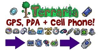 Terraria GPS, PDA  Cell Phone Crafting Guide! (How to get Fish Finder, Goblin Tech  REK 3000, 1.3)