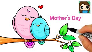 How to Draw a Mommy and Baby Bird ❤️ Mother's Day Art