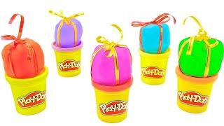 Новогодние подарки с сюрпризами. Открываем сюрпризы. Игрушки из киндер сюрпризов. Учим цвета.
