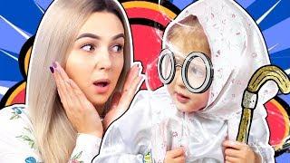 Амелька стала БАБУШКОЙ! Что случилось с малышом? Спит днем, носит очки и вяжет! Видео для детей