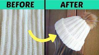 Super Easy Crochet Hat Tutorial   Ribbed Beanie Pattern For Beginners