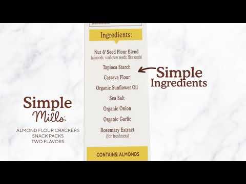 Simple Mills, Naturally Gluten-Free, Almond Flour Crackers, Fine Ground Sea Salt, 4.9 oz (138 g)