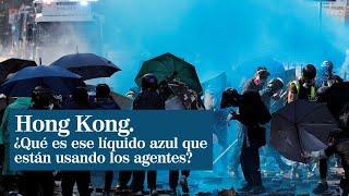 El misterioso líquido azul que la policía lanza a los manifestantes en Hong Kong