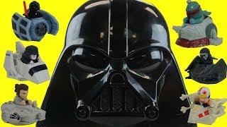 Star Wars Battle Rollers Hotwheels Darth Vader Case Rey Luke Skywalker Racers