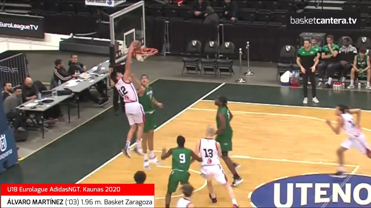 ÁLVARO MARTÍNEZ (´03) 1.96 m. Basket Zaragoza. U18 Euroleague ANGT. Kaunas2020 (BasketCantera.TV)