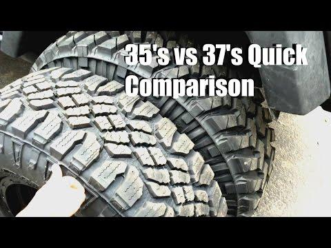 35s vs 37s Comparison Jeep Wrangler