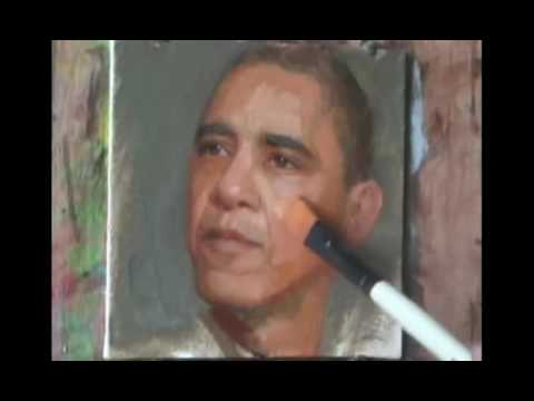 Barack Obama oil painting by Yuehua He
