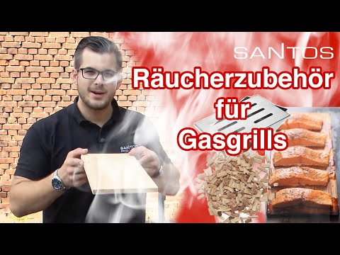 Santos Gasgrill Räucher Zubehör - Räucherbrett, Räucherbox Smokerbox, Hickory Räucherchips für Aroma