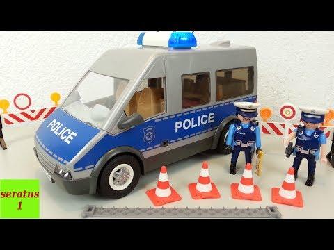 Playmobil Polizeibus mit Straßensperre 9236 auspacken seratus1