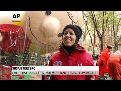 Crews in New York worked to inflate 16 giant helium balloons on Wednesday ahead of the annual Macy's Thanksgiving Day Parade. Officials fear high winds expected on Thursday could ground the balloons, or force them to be flown lower. (Nov. 21)