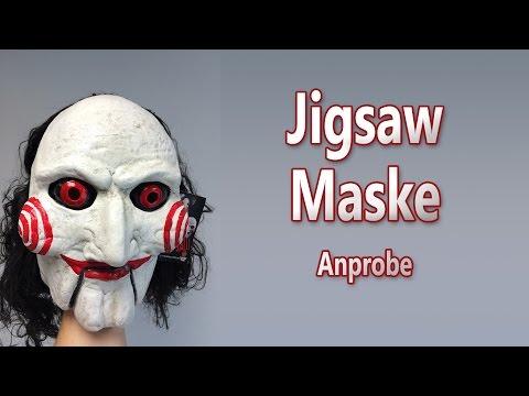 Jigsaw Maske aus SAW für Halloween: Anprobe und 3D Ansicht Deutsch