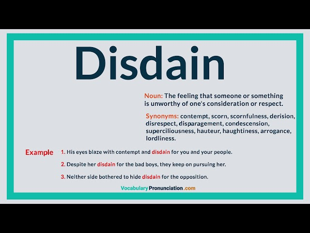 How to Pronounce DISDAIN l Definition, Meaning, Example and Synonyms of  DISDAIN by VP