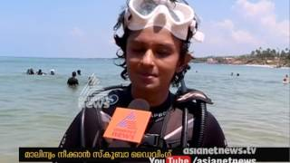 Suchitwa Mission Executive Director Vasuki and team's  Scuba diving for Clean the Ocean drive