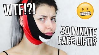 30 MINUTE AT-HOME FACE LIFT - WTF?! CHIN UP MASK REVIEW