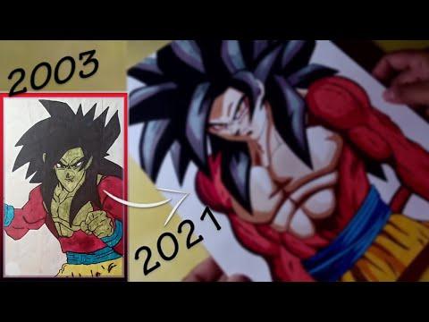 Drawing  Goku Super Sayajin 4 - Dragon Ball GT   Refazendo Meu Desenho De Infncia !!!
