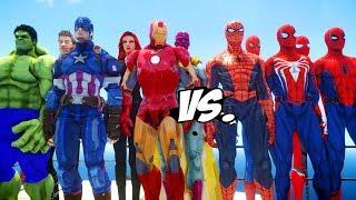 THE AVENGERS VS SPIDERMAN SUITS - EPIC BATTLE