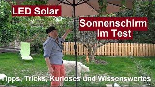 ✅Günstiger UV LED Solar Sonnenschirm mit Solarlampen Beleuchtung LZQ wasserabweisend Review deutsch