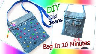 DIY Cute Jeans Bag Purse Recycling No Sew - How To Make Bag From Old Denim - Old Jeans Crafts Ideas