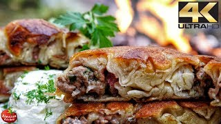 Primitive Cooking 4K - Hand-Made Borek Recipe (RELAXING COOKING THREAPY)
