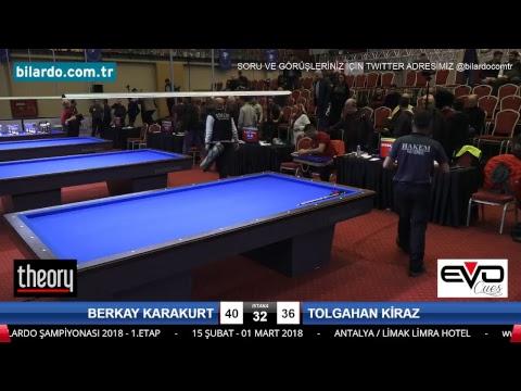 BERKAY KARAKURT & TOLGAHAN KİRAZ Bilardo Maçı - 2018 ERKEKLER 1.ETAP-Son 16