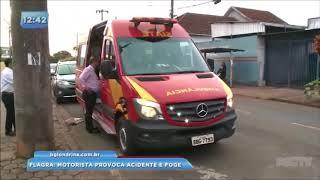Flagra: motorista provoca acidente e foge