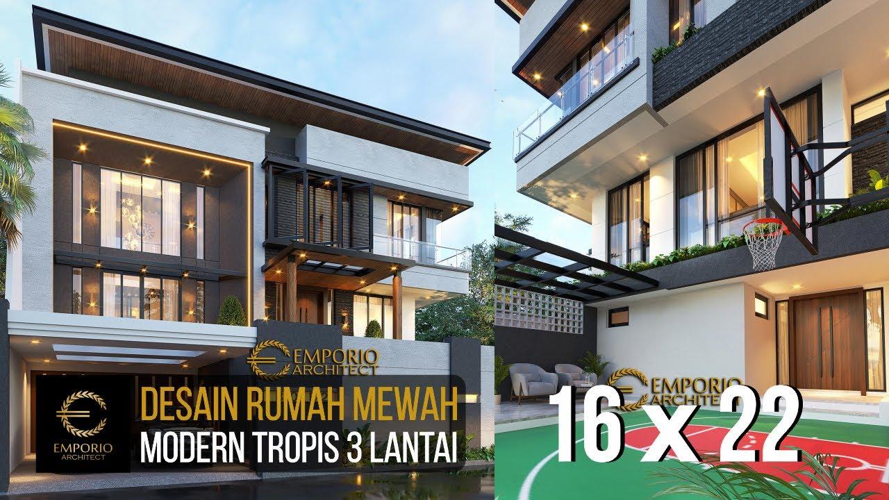 Video 3D Desain Rumah Modern Industrial 3 Lantai Bapak Ben di Jakarta