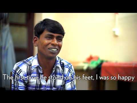 Father and Son with Clubfoot in India