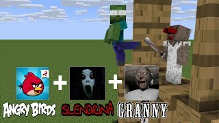 Monster School: ANGRY BIRDS + GRANNY CHALLENGE - MINECRAFT ANIMATION