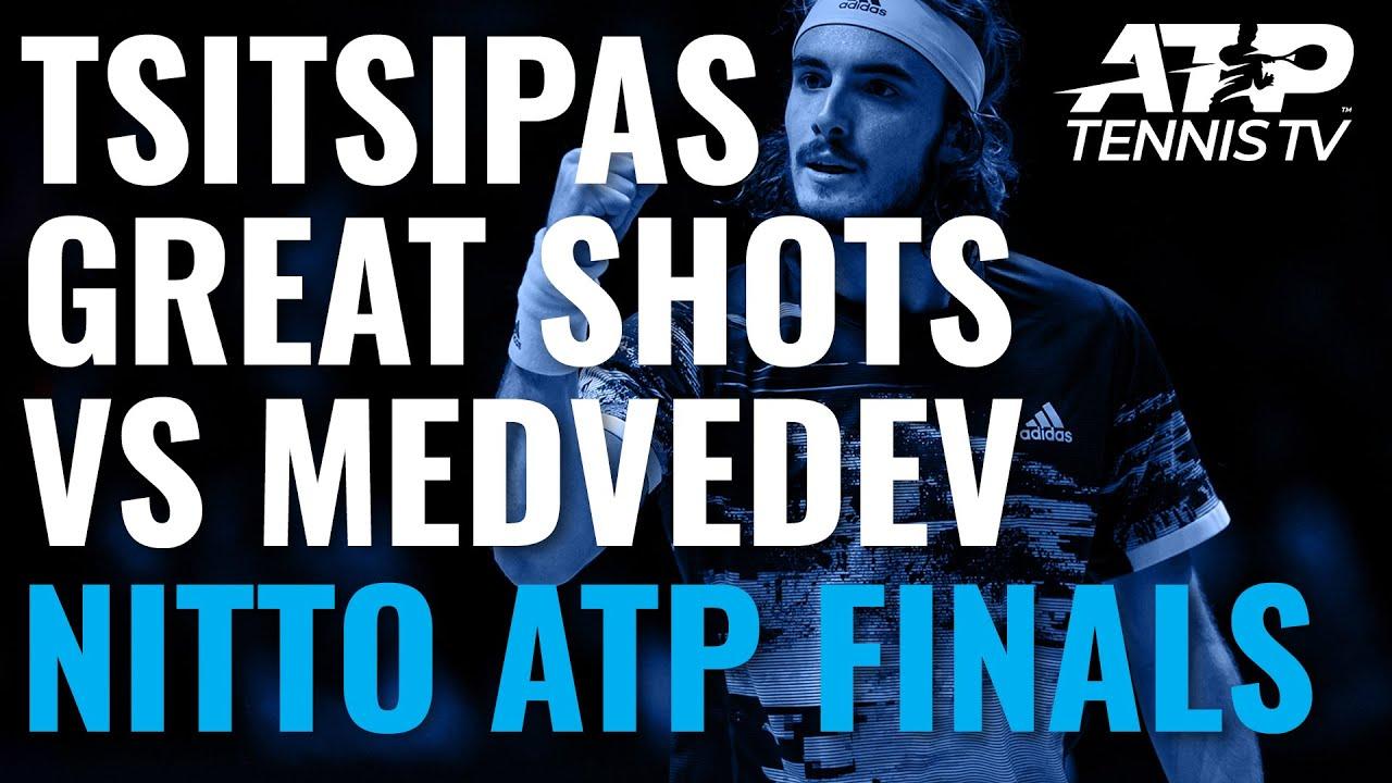 Обзор лучших ударов и розыгрышей Циципаса в матче против Медведева (ВИДЕО)