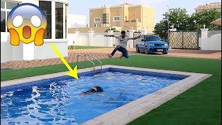 مقلب الغرق في المسبح !