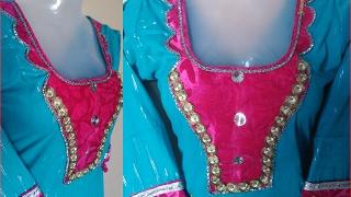 designer suit neck Royal Gate Kurti DIY