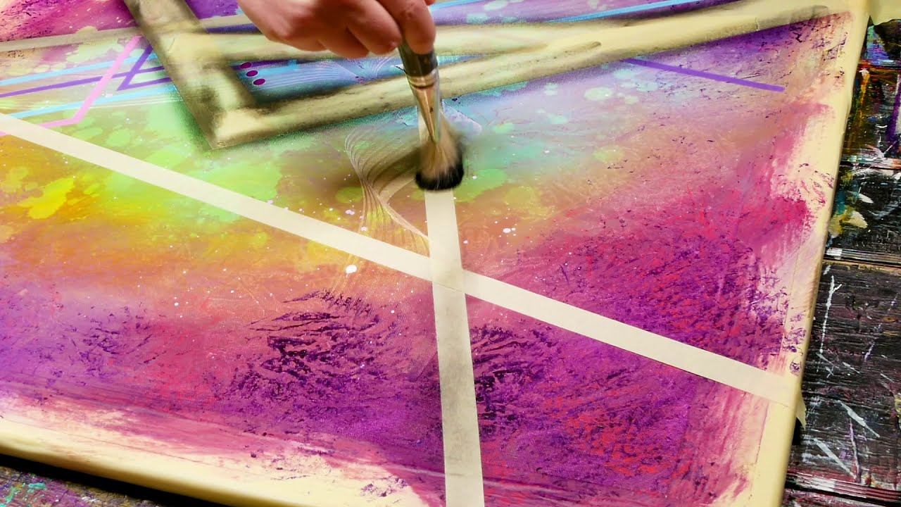 abstract painting with fluorescent colors by john beckley