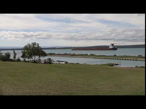 Great Lakes freighter passing by