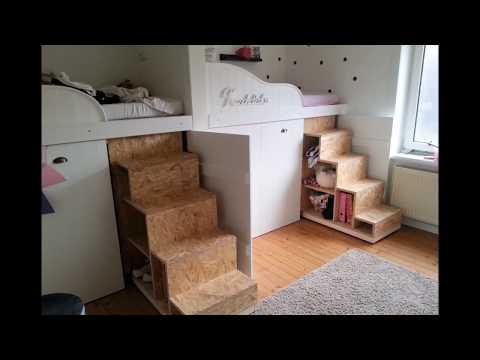 Etagenbett Mit Regal Treppe : Hochbett kinderzimmer step inkl kleiderschrank etagenbett