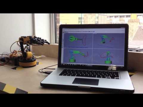 Inverse kinematics on my Arduino robot using Matlab - смотреть