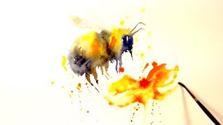 """Paint And Colour """"A Bee"""" - A Simple Watercolour Speed Painting"""