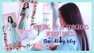 SEWING: How to Sew Dreamy Wrap Dress McCall's M8036 | Sew With Me Vlog
