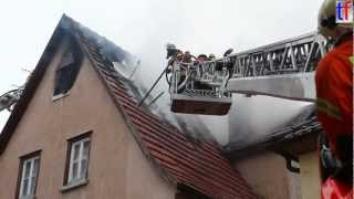 preview picture of video 'Roof Framework Fire / Dachstuhlbrand, Winnenden, Germany. 2013-03-13'