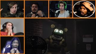 Let's Players Reaction To Fredbear Jumpscare | Final Nights 4 (Demo)