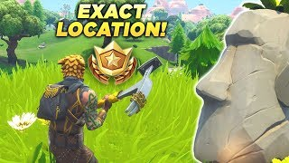 """""""Search where the Stone Heads are looking"""" Fortnite Location Stone Heads Week 6 Season 5 Battle Star"""