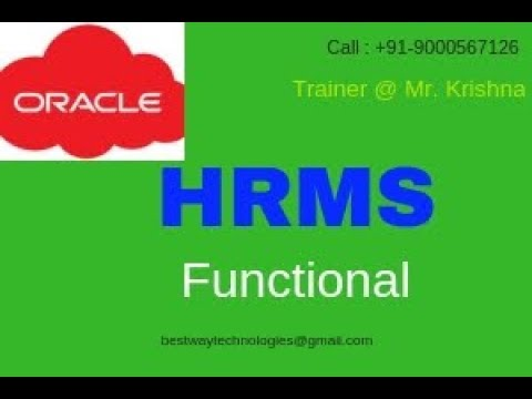 ORACLE HRMS Functional training Videos | ORACLE Apps HRMS Training Videos | Hyderabad | Bangalore