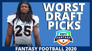 2020 Fantasy Football - Worst Picks - Do Not Draft These Players