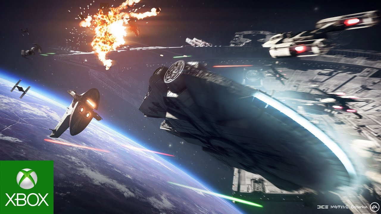 Millennium Falcon, TIE fighters, and other space ships fight above a planet